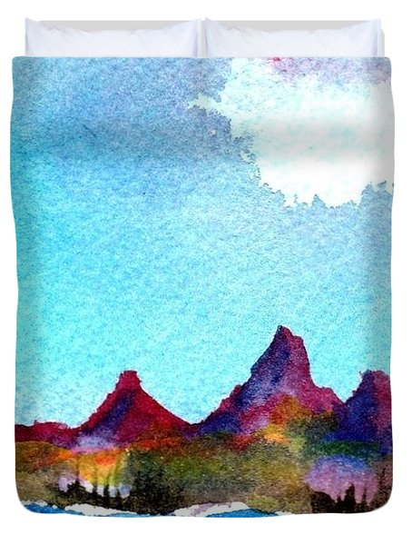 Duvet Cover featuring the painting Needles Mountains by Anne Duke