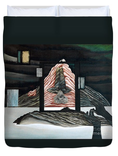 Duvet Cover featuring the painting Negative Ion by Fei A