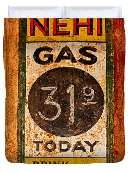 Nehi And Gas Sold Here Duvet Cover by Priscilla Burgers