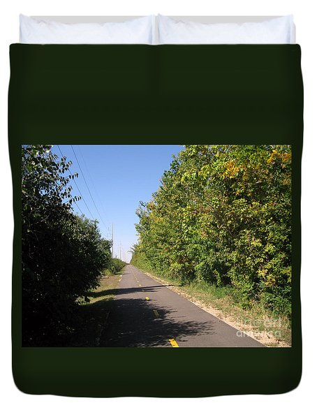 Neighborhood Bicycle And Walking Trail Duvet Cover