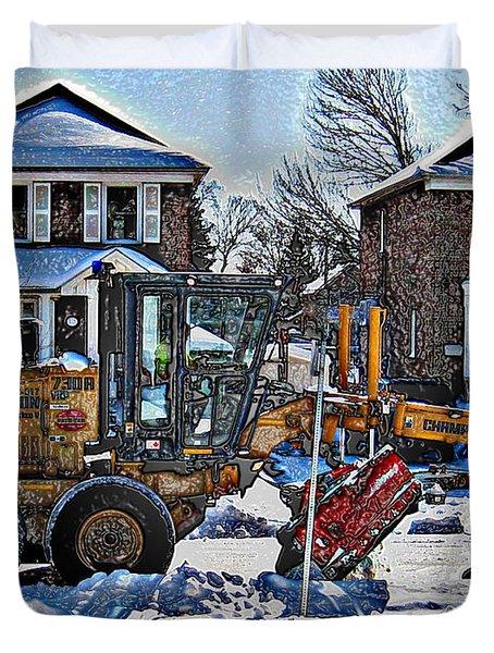 Neighbourhood Snowplough Duvet Cover by Nina Silver