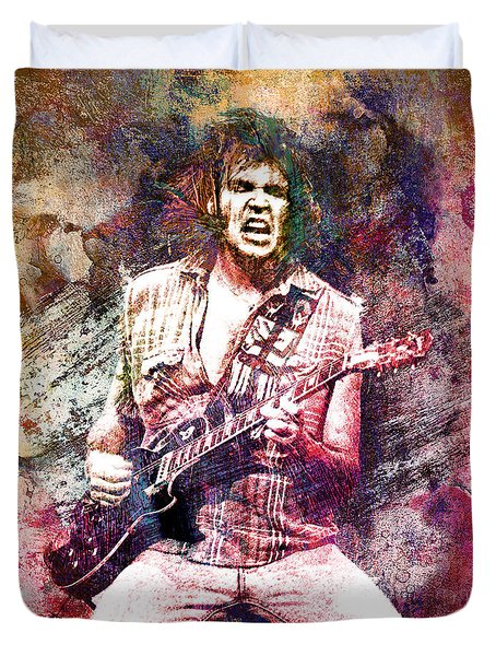 Neil Young Original Painting Print Duvet Cover by Ryan Rock Artist