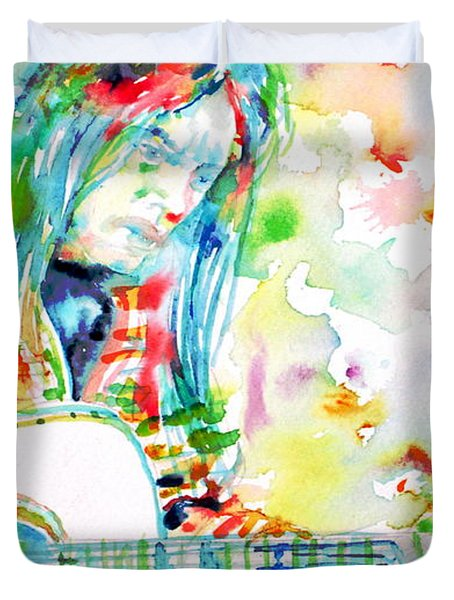 Neil Young Playing The Guitar - Watercolor Portrait.1 Duvet Cover