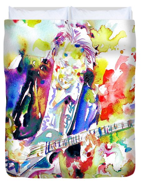 Neil Young Playing The Guitar - Watercolor Portrait.2 Duvet Cover