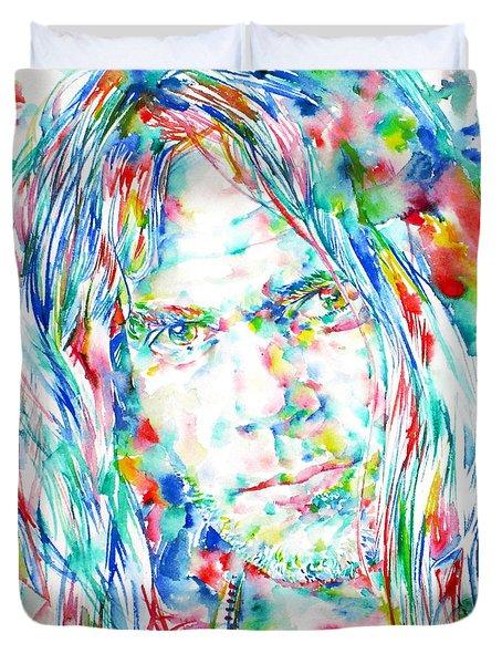 Neil Young - Watercolor Portrait Duvet Cover
