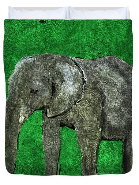 Duvet Cover featuring the digital art Nelly The Elephant by Pennie  McCracken