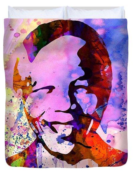 Nelson Mandela Watercolor Duvet Cover by Naxart Studio