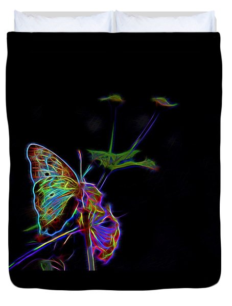 Neon Butterfly Duvet Cover by Judy Vincent