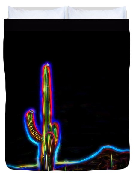 Neon Cactus In Bloom Duvet Cover