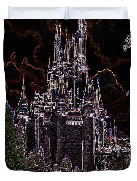 Neon Castle Duvet Cover by Eric Liller