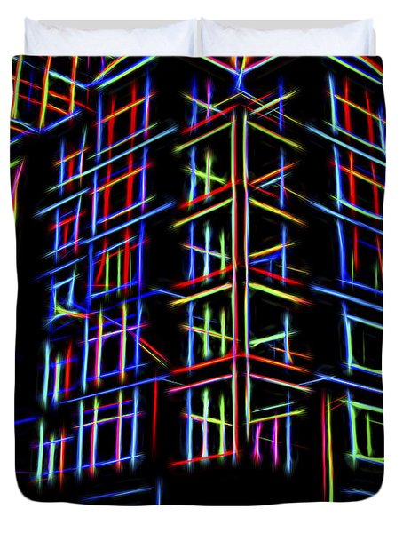 Duvet Cover featuring the digital art Neon by Cathy Anderson