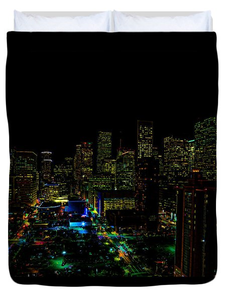 Neon Downtown Houston Duvet Cover by Judy Vincent