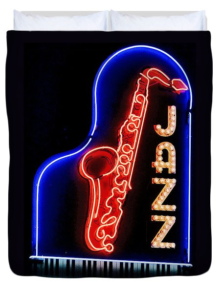 Duvet Cover featuring the photograph Neon Jazz by Nadalyn Larsen