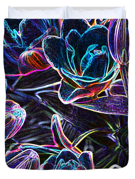 Neon Lilies Duvet Cover by Tine Nordbred