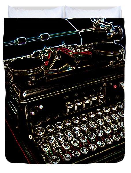 Neon Old Typewriter Duvet Cover by Ernie Echols