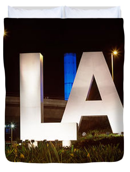 Neon Sign At An Airport, Lax Airport Duvet Cover