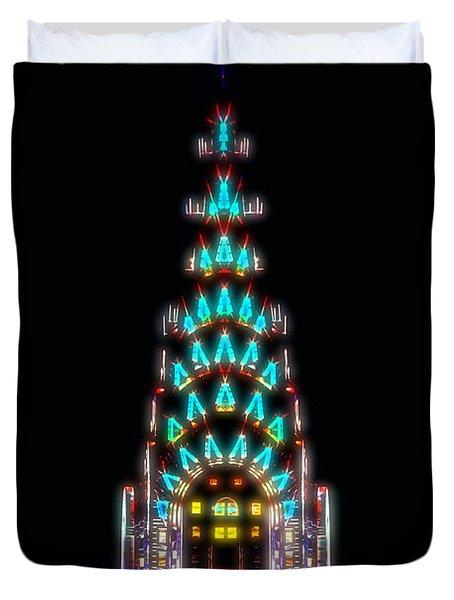 Neon Spires Duvet Cover