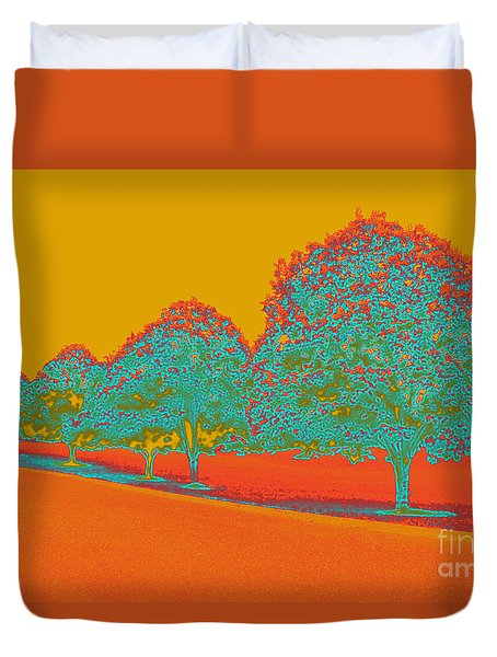Neon Trees In The Fall Duvet Cover
