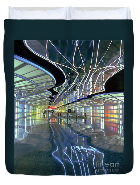 Neon Walkway At Ohare Duvet Cover