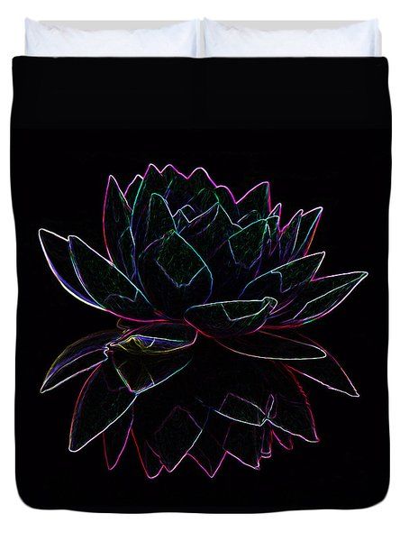 Neon Water Lily Duvet Cover