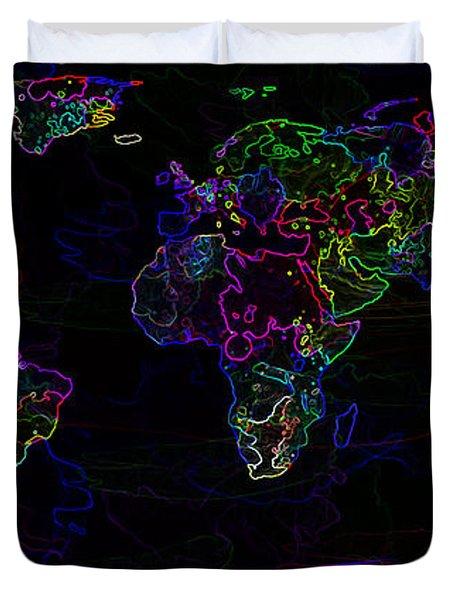 Neon World Map Duvet Cover by Zaira Dzhaubaeva