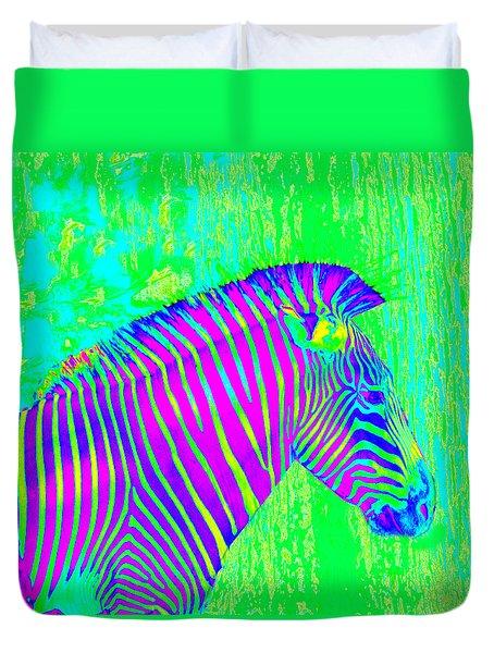 Neon Zebra 2 Duvet Cover