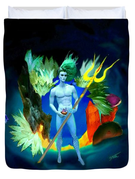 Duvet Cover featuring the digital art Neptune/poseidon by Steed Edwards