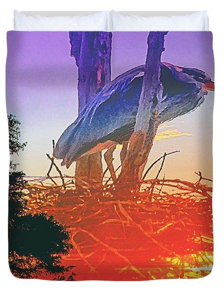 Nesting Heron - Summer Time Duvet Cover