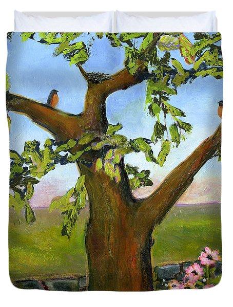 Nesting Tree Duvet Cover by Blenda Studio
