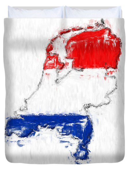 Netherlands Painted Flag Map Duvet Cover