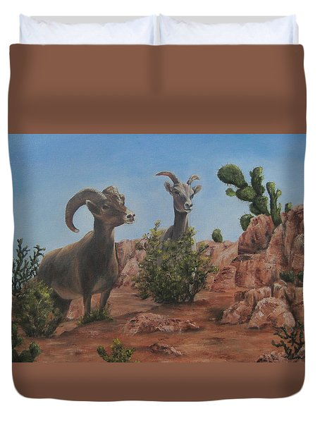 Duvet Cover featuring the painting Nevada Big Horns by Roseann Gilmore