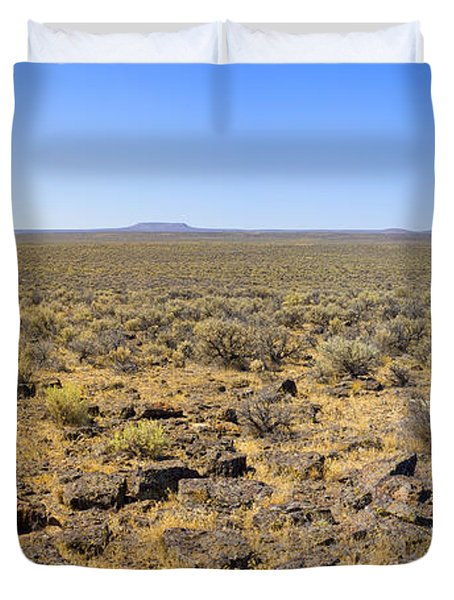 Duvet Cover featuring the photograph Nevada Desert Panorama by Mark Greenberg