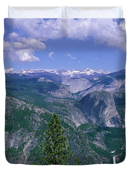 Nevada Fall And Half Dome, Yosemite Duvet Cover by Panoramic Images