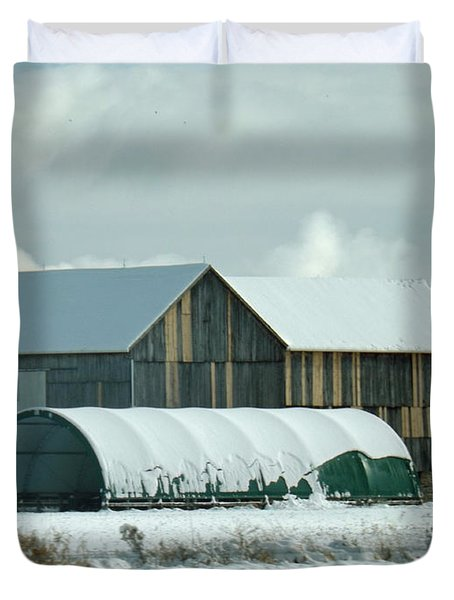 Duvet Cover featuring the photograph New And Old Barn Planks by Brenda Brown