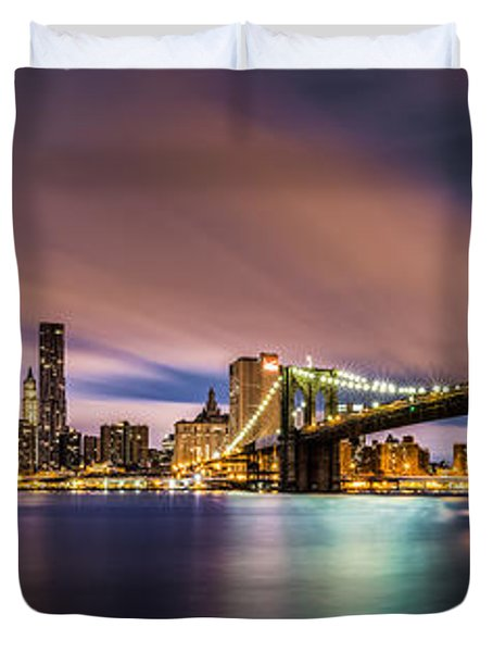 New Dawn Over New York Duvet Cover by Mihai Andritoiu