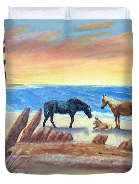 Duvet Cover featuring the painting New Day - Hatteras by Fran Brooks