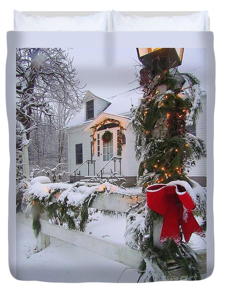 New England Christmas Duvet Cover