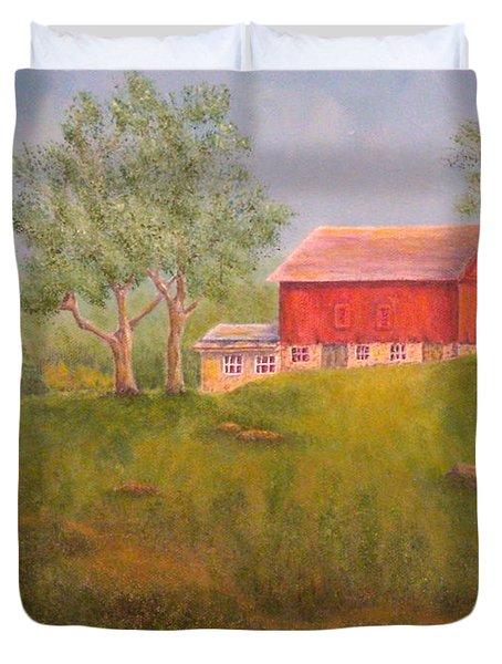 New England Red Barn At Sunrise Duvet Cover by Pamela Allegretto