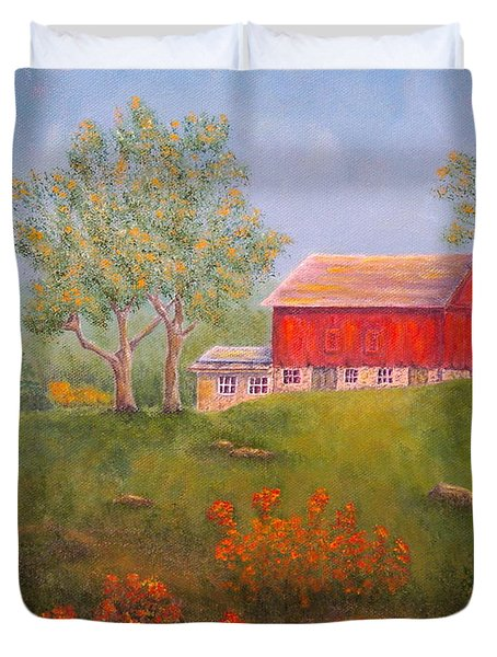 New England Red Barn Summer Duvet Cover by Pamela Allegretto
