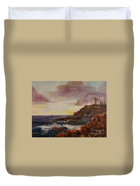 Duvet Cover featuring the painting New England Storm by Lee Piper