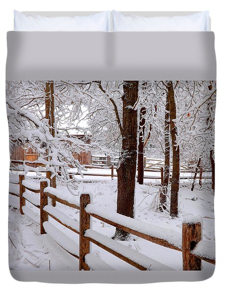 New England Winter Duvet Cover