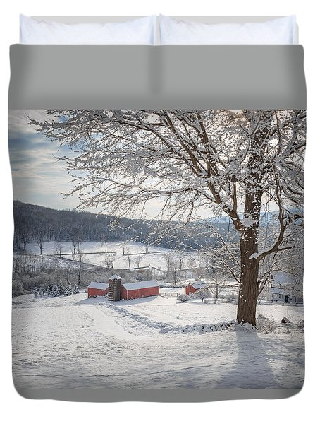 New England Winter Farms Morning Duvet Cover by Bill Wakeley