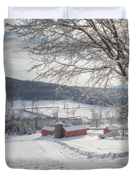 New England Winter Farms Morning Square Duvet Cover by Bill Wakeley