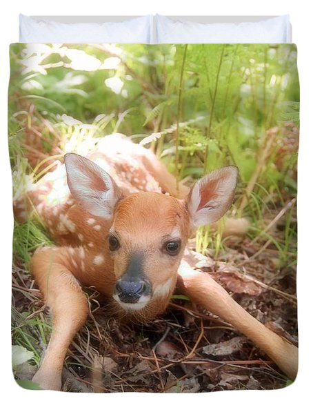 New Fawn In The Forest Duvet Cover by Angie Rea