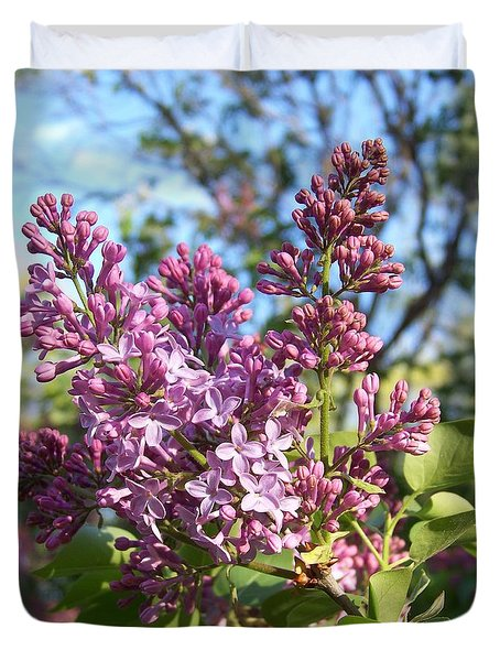 Duvet Cover featuring the photograph Purple Lilac by Eunice Miller