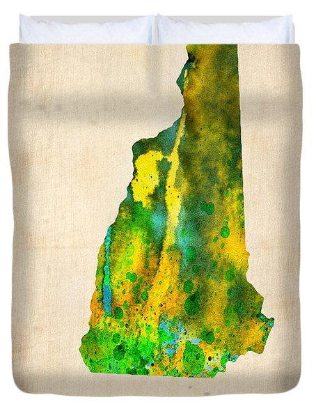 New Hampshire Watercolor Map Duvet Cover by Naxart Studio