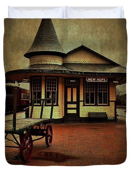 Duvet Cover featuring the photograph New Hope Ivyland Train Station by Debra Fedchin
