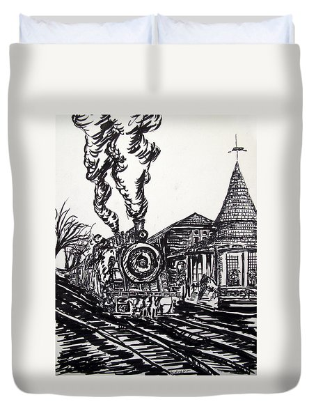 New Hope Train Station Sketch Duvet Cover