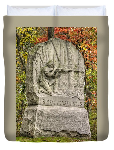 New Jersey At Gettysburg - 13th Nj Volunteer Infantry Near Culps Hill Autumn Duvet Cover by Michael Mazaika