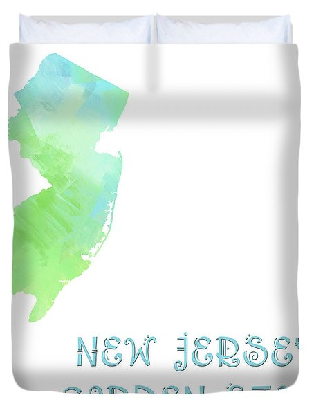 New Jersey - Garden State - Map - State Phrase - Geology Duvet Cover by Andee Design